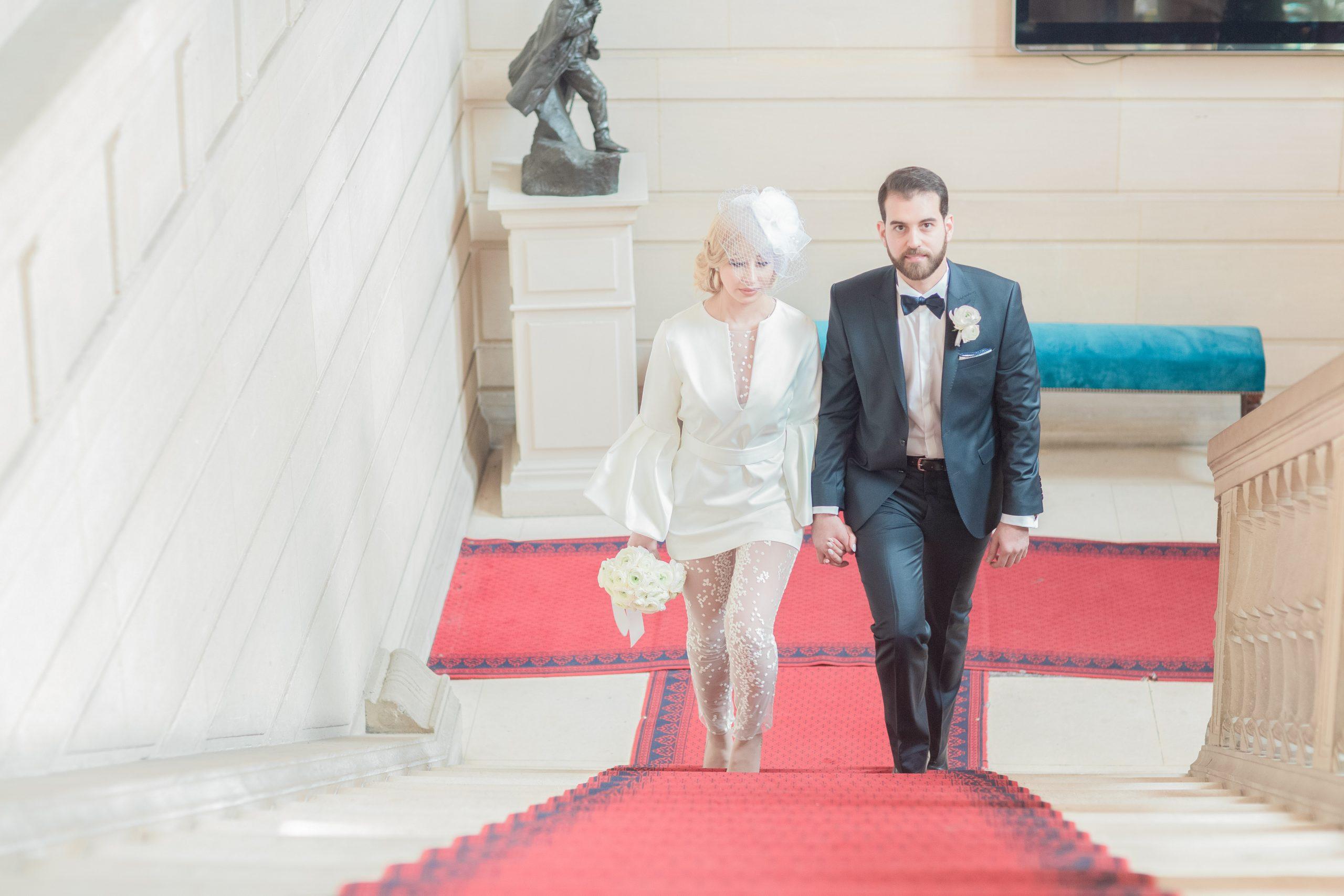 photographie-mariage-arrivée-mariés-paris